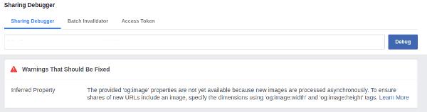 Facebook share debugger